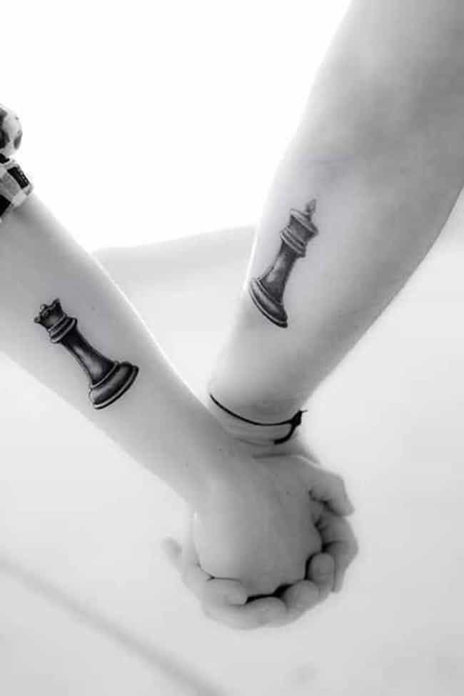 Chess King And Queen Cou... is listed (or ranked) 2 on the list Couple Tattoo Ideas