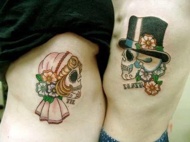 Sugar Skulls Couple Tattoo is listed (or ranked) 8 on the list Couple Tattoo Ideas