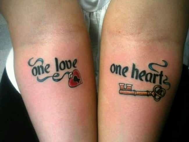 Song Lyrics Couple Tattoo is listed (or ranked) 6 on the list Couple Tattoo Ideas