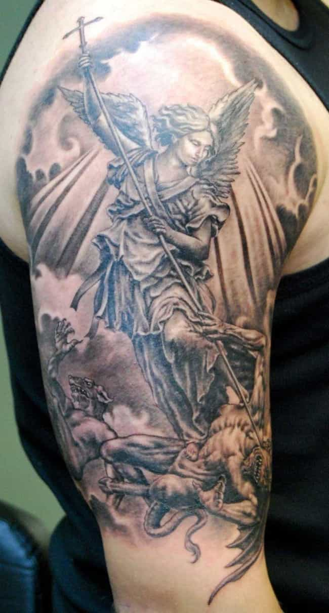 St. Michael Tattoo is listed (or ranked) 1 on the list 24 Inspiring Christian Tattoo Ideas For People of Faith