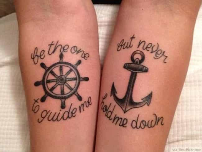 Anchor And Wheel Couple Tattoo is listed (or ranked) 5 on the list Couple Tattoo Ideas