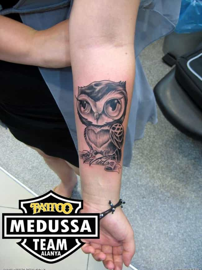 Girly Owl Tattoo On Arm is listed (or ranked) 3 on the list 25 Too-Cute Tattoo Ideas for the Girly Girl