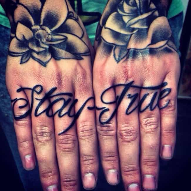 Stay True Knuckle Tattoo is listed (or ranked) 1 on the list 20 Dope Designs for Killer Knuckle Tats