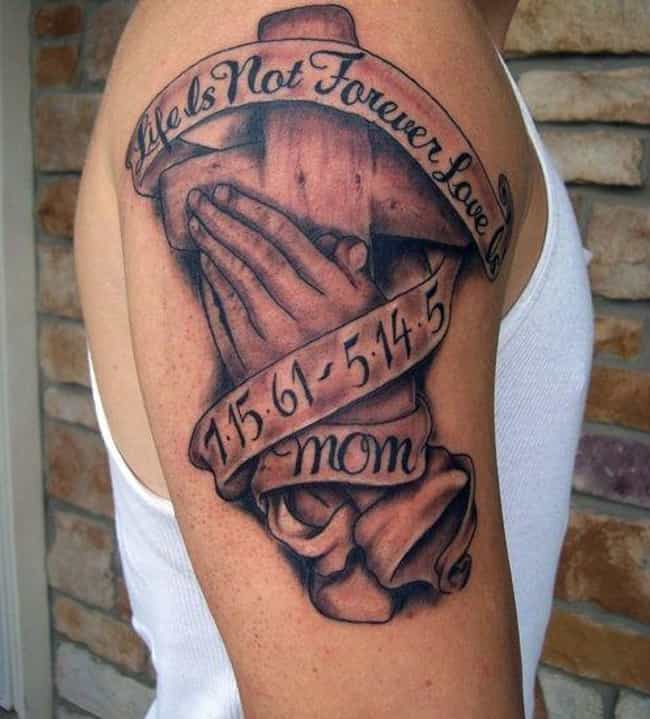 Memorial Rip Cross In Hands Elbow Tattoo Cross Elbow Tattoos
