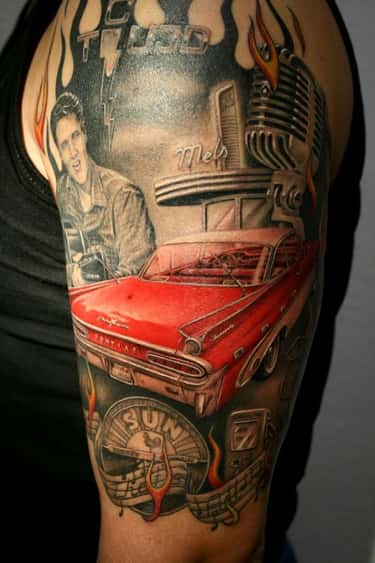 Elvis And Car Rockabilly Tatto is listed (or ranked) 2 on the list Rockabilly Tattoo Ideas