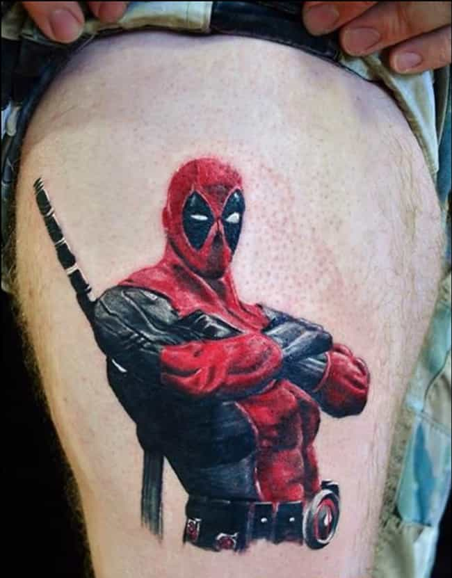 Damn-Near Photorealistic Deadp... is listed (or ranked) 4 on the list 25 Tattoos Inspired by Deadpool