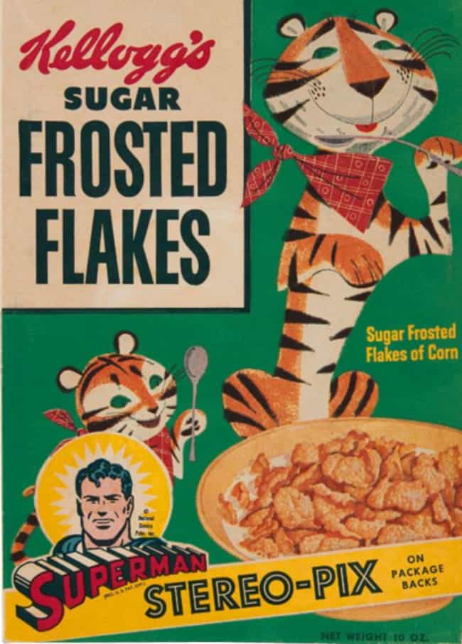 Sugar Frosted Flakes (1950) is listed (or ranked) 1 on the list 31 Vintage Cereal Boxes with Awesome Box Art