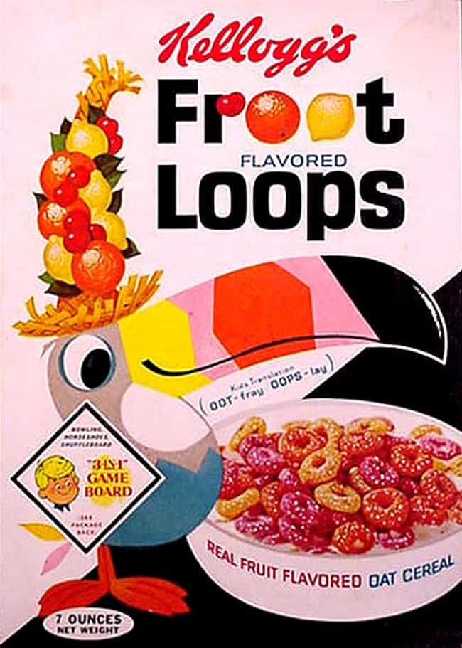 Froot Loops (1960) is listed (or ranked) 2 on the list 31 Vintage Cereal Boxes with Awesome Box Art