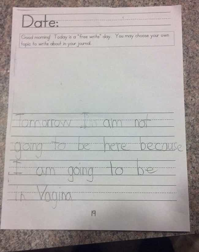 Funny Kids Spelling Errors - 22 innocent yet hilarious childrens spelling mistakes