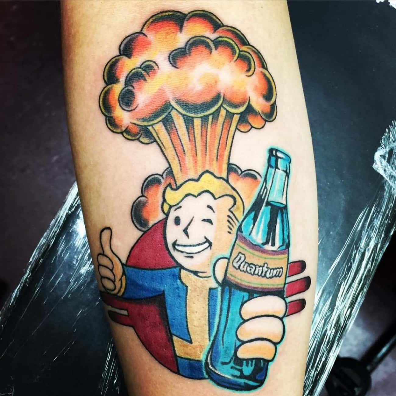 Vault Boy Enjoying a Tasty Bev is listed (or ranked) 1 on the list Tattoos Inspired by Fallout