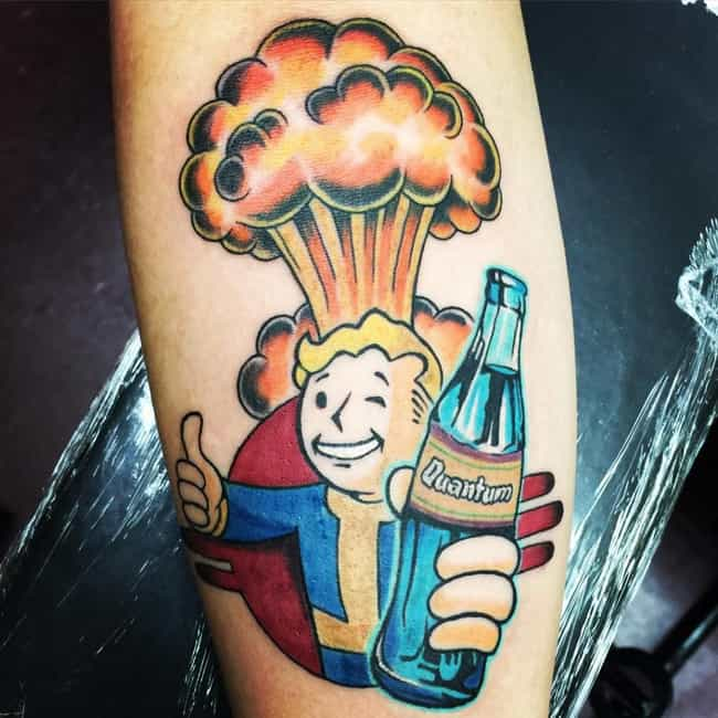 Vault Boy Enjoying a Tasty Bev... is listed (or ranked) 1 on the list Tattoos Inspired by Fallout