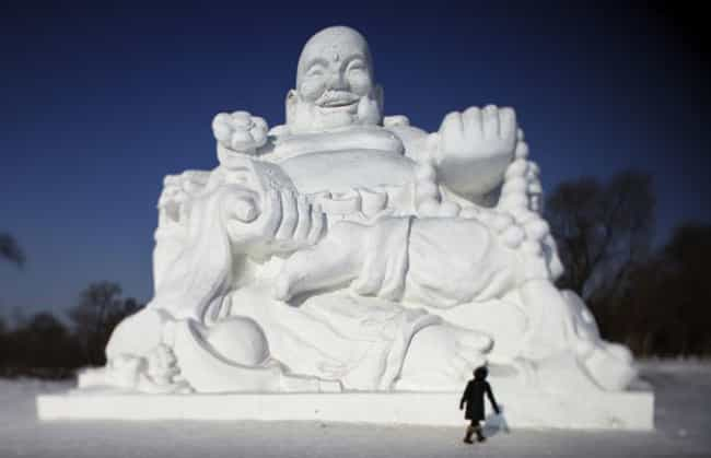 Melting Buddha Promises He&#39... is listed (or ranked) 2 on the list Snowy Works of Art That Could Only Happen During Winter