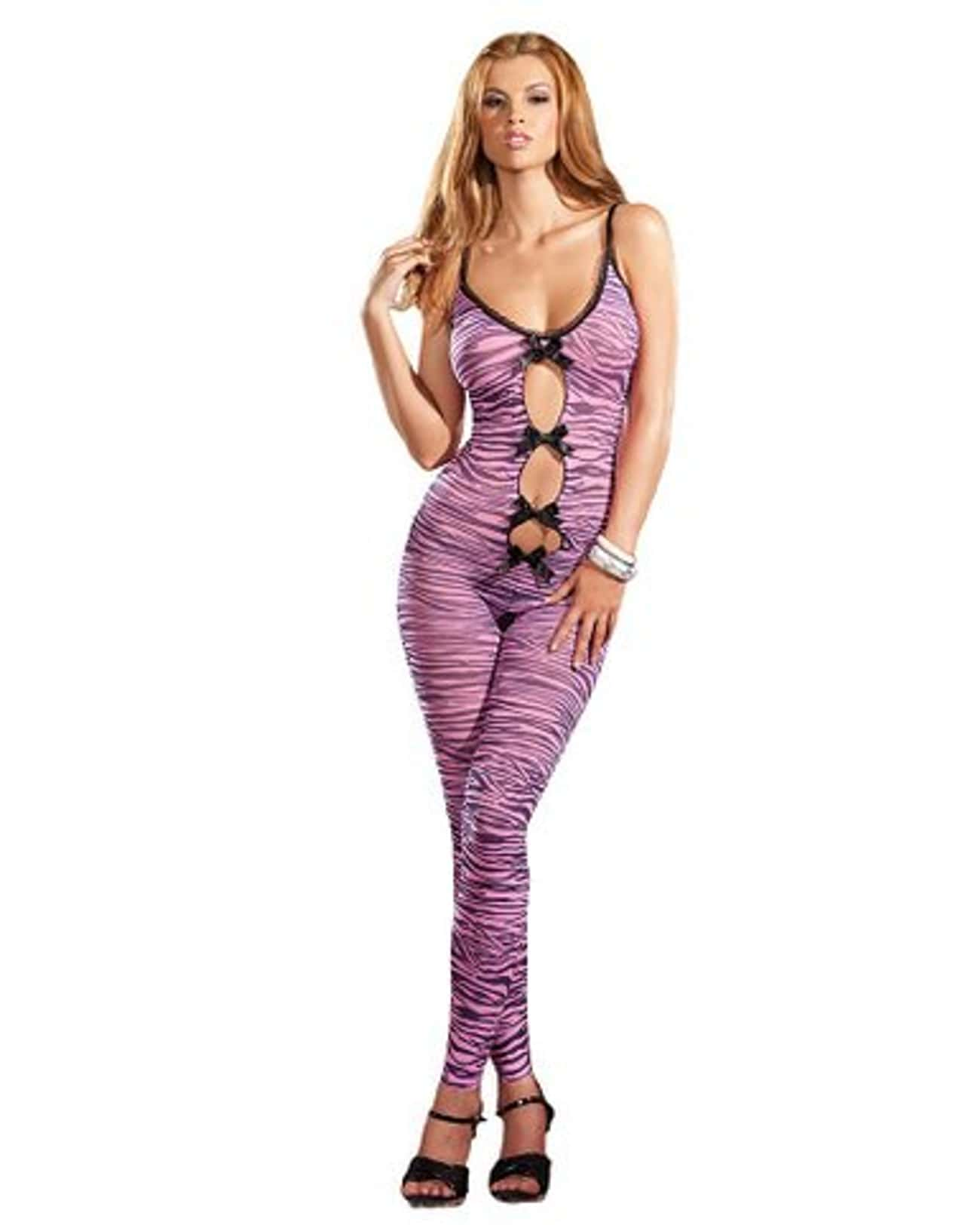Zebra Print Crotchless Bodysto is listed (or ranked) 3 on the list The Most Insane Lingerie You Can Buy