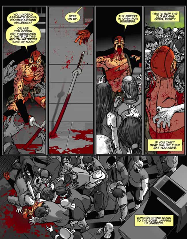 It Takes a Real Man to Volunta... is listed (or ranked) 2 on the list The Most Gruesome Injuries Deadpool's Ever Received