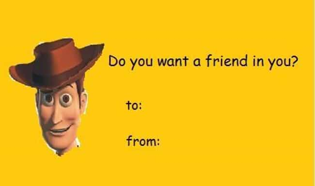 The Woody Card is listed (or ranked) 2 on the list 35 Super Weird Valentines You Should Pass Out This Year