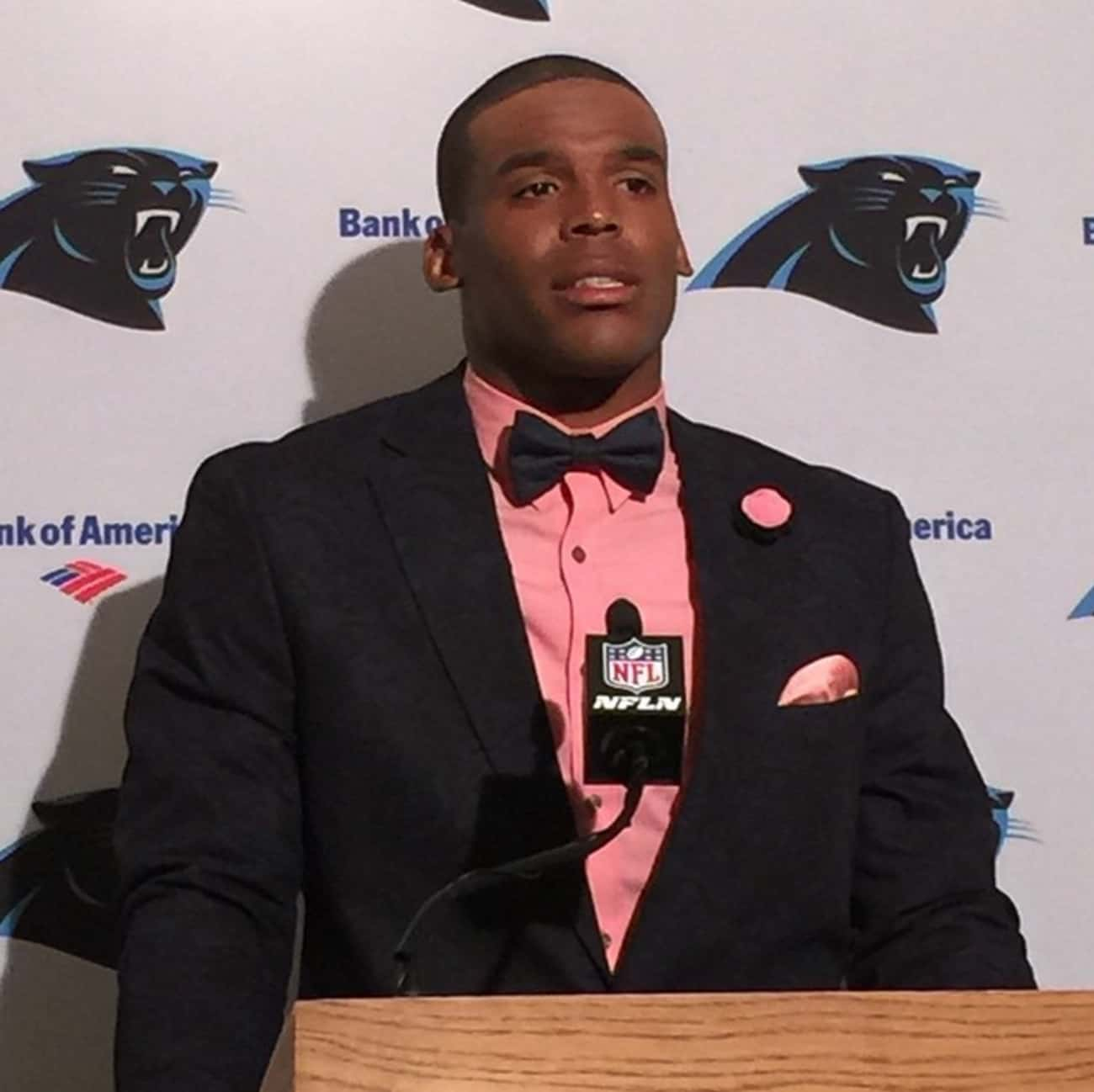 Hot Pink and Black Is a Fire C is listed (or ranked) 1 on the list Cam Newton's Most Over the Top Fashion Choices