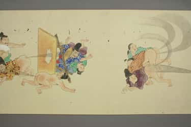 Japanese Fart Battle Scroll from the Edo Period