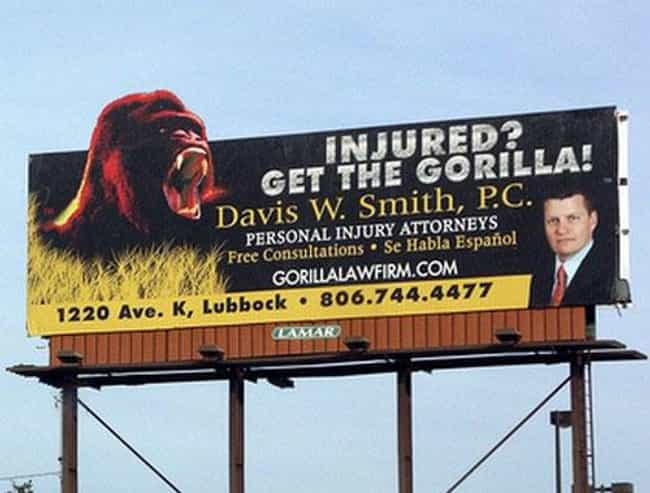 Monkey Business is listed (or ranked) 22 on the list Funny Billboards for Lawyers You'd Never Hire