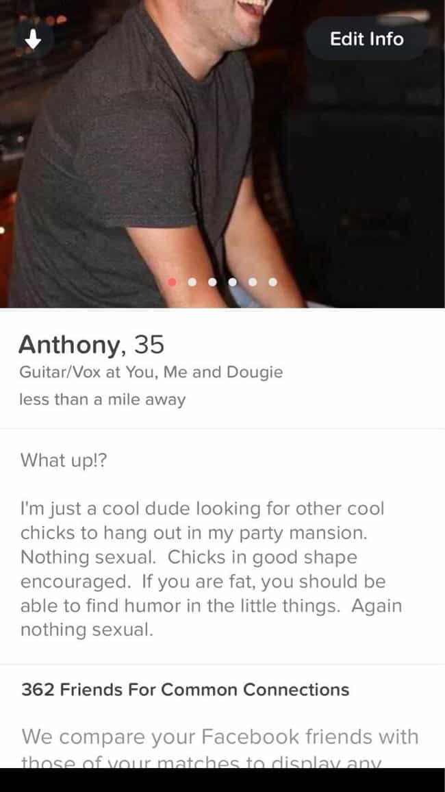 This Guy's Tinder Profile is listed (or ranked) 3 on the list Photos All 'Always Sunny' Fans Will Laugh at Immediately