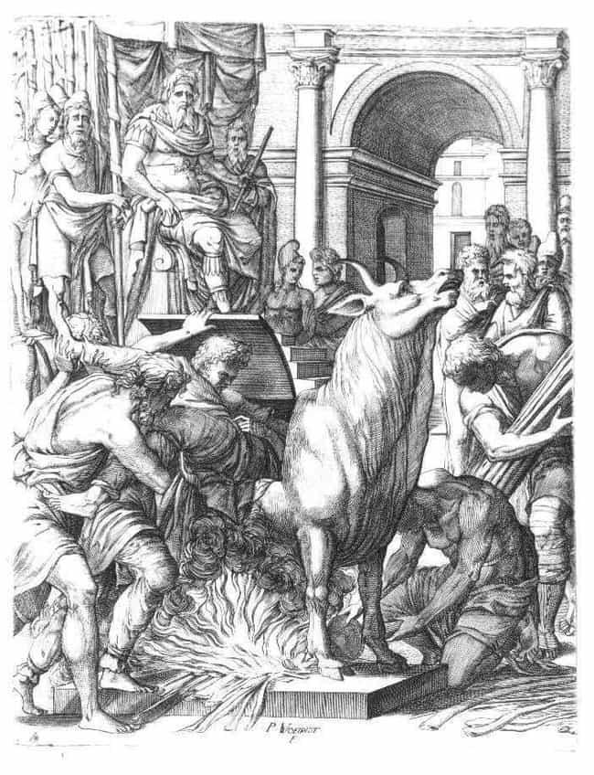 Sicilian Tyrant Phalaris ... được liệt kê (hoặc xếp hạng) 3 trong danh sách Những cái chết cổ xưa kỳ lạ khủng khiếp sẽ không xảy ra hôm nay