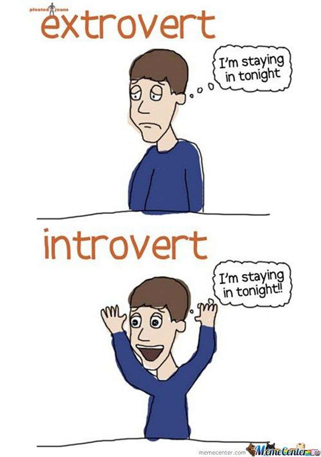 Extroverts vs. introverts is listed (or ranked) 3 on the list Jokes That Are Only Funny If You're an Introvert
