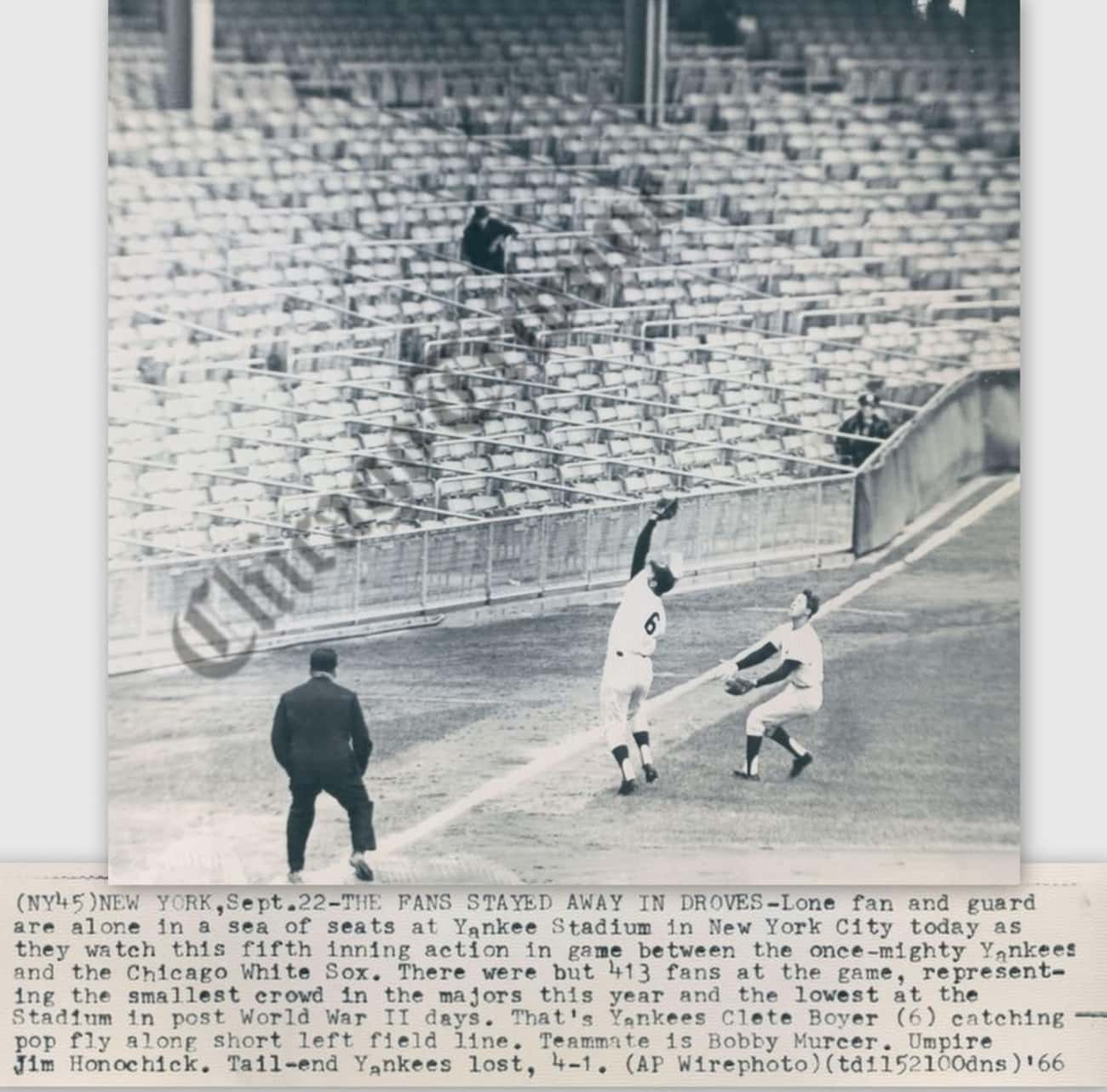 Yankees fans straight up quit supporting their team in 1966.