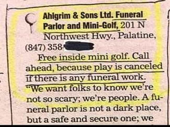 Keeping the Fun in Funerals is listed (or ranked) 4 on the list Businesses That Should Have Never Ever Crossed Paths