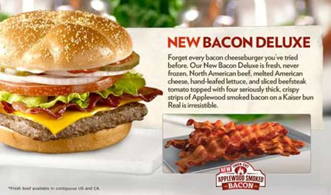 Bacon Deluxe is listed (or ranked) 3 on the list 10 Wendy's Items That Were Basically a Bacon Cheeseburger