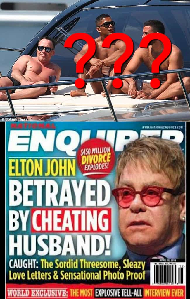 David Furnish, Elton John's Hu... is listed (or ranked) 1 on the list Celebrities Who Have Had Threesomes