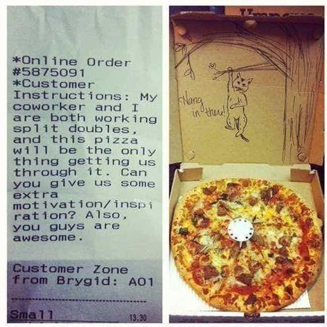 """This Extra Dose of Motiv... is listed (or ranked) 1 on the list Hilarious """"Special Instructions"""" Pizza Deliveries"""