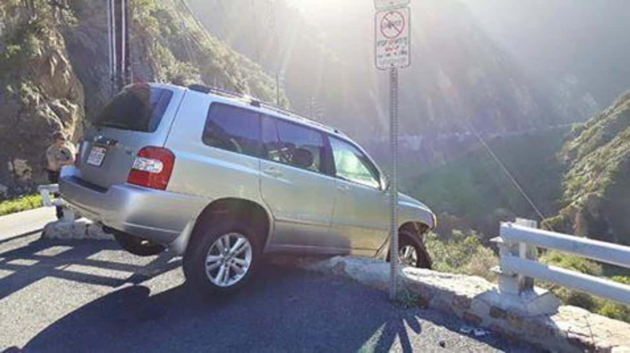 Man Almost Drives Off Cliff, Then Gets Hit by Bus