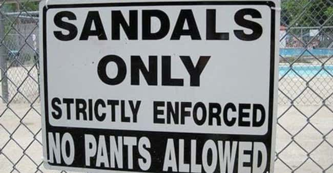 Where Epic Pants Parties Happe is listed (or ranked) 11 on the list Signs That Have Some Explaining to Do