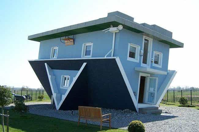 The Upside Down House in Trass... is listed (or ranked) 6 on the list Weird and Wacky Building Shapes Around the World
