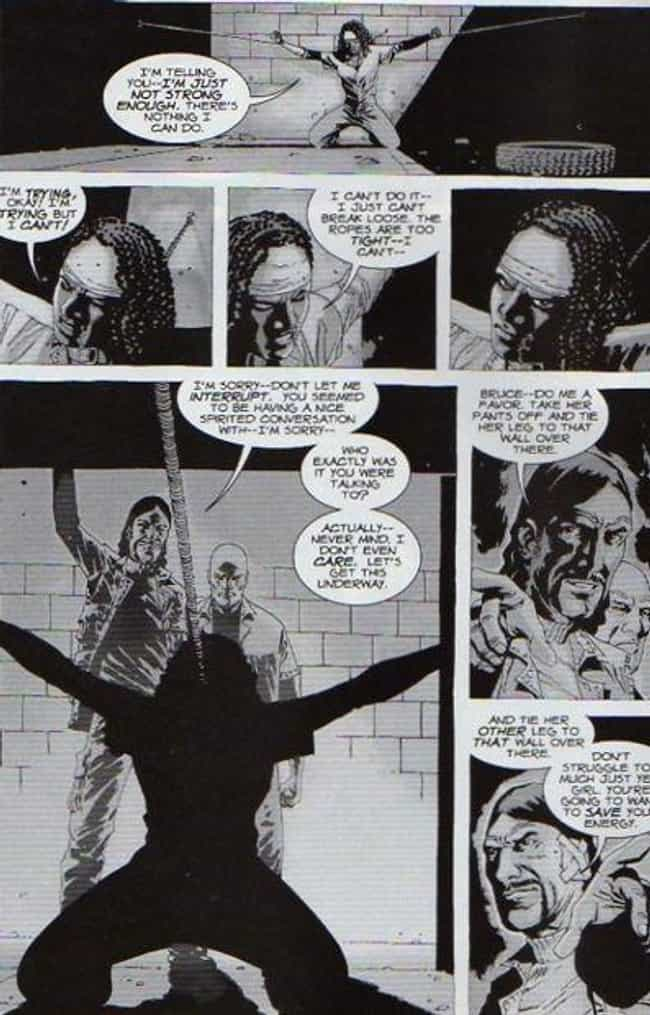 The Governor Raping Michonne is listed (or ranked) 1 on the list 10 Walking Dead Comic Scenes That Were Too Graphic For TV