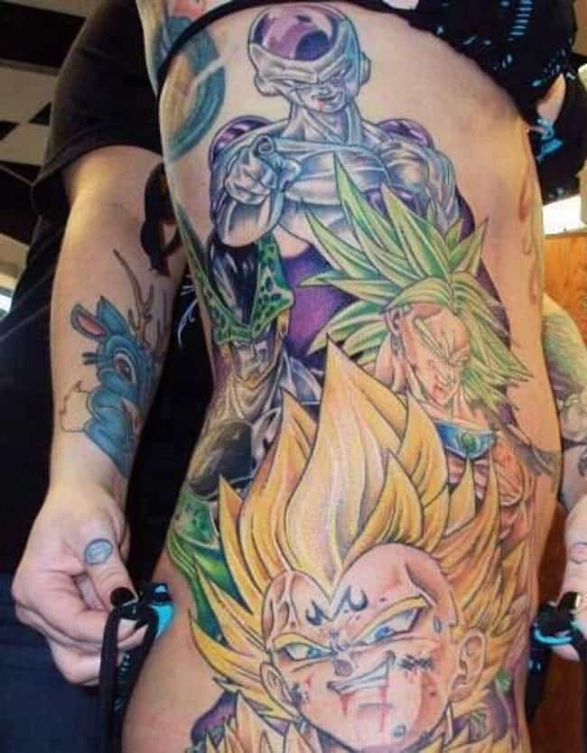 22 awesome dragon ball z tattoos for hardcore fans the saiyans and freeza have taken over her body thecheapjerseys Choice Image