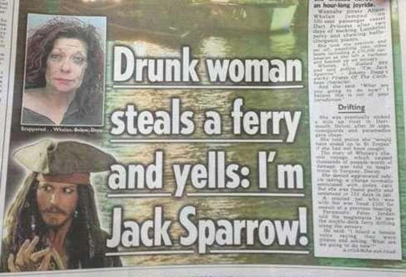 Trainwreck of the Carribean is listed (or ranked) 2 on the list 24 Drunk Headlines About People More Messed Up Than You