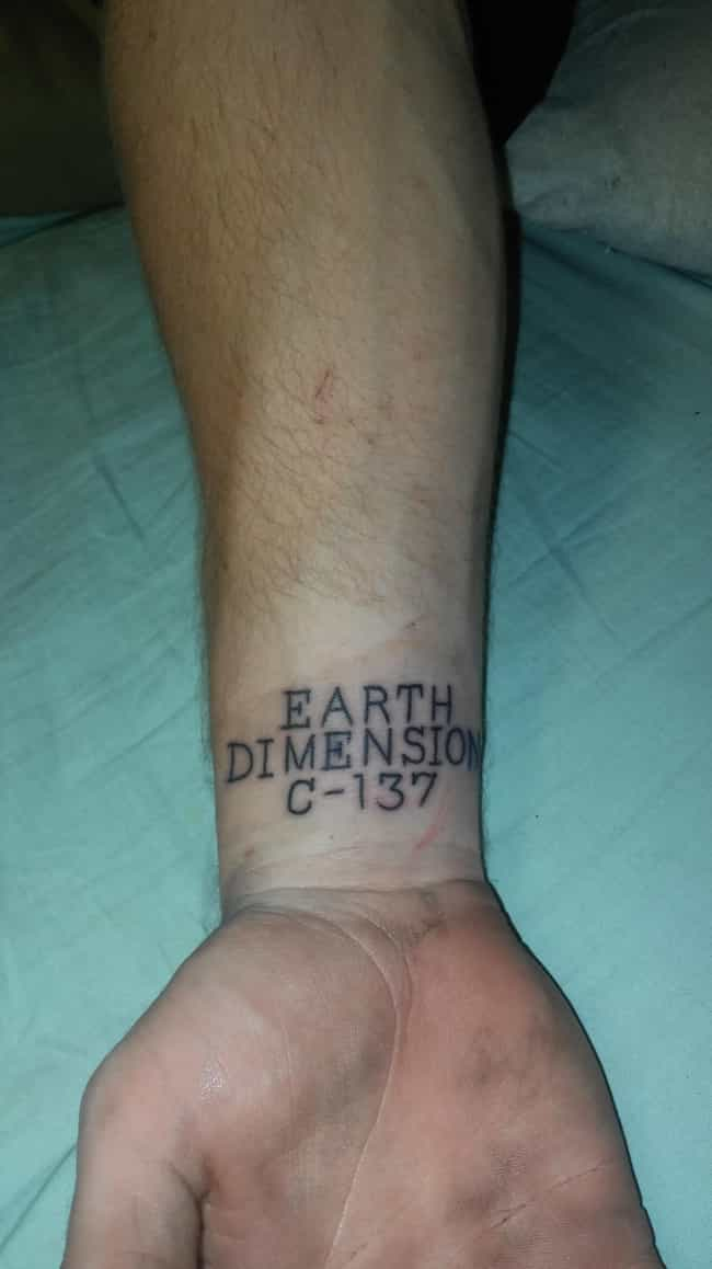 If Found, Please Return ... is listed (or ranked) 3 on the list 28 Amazing Tattoos Inspired by Rick and Morty
