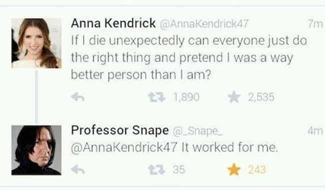 Alan Rickman Assures Ann... is listed (or ranked) 2 on the list The Best Screenshots of Celebs Texting Each Other