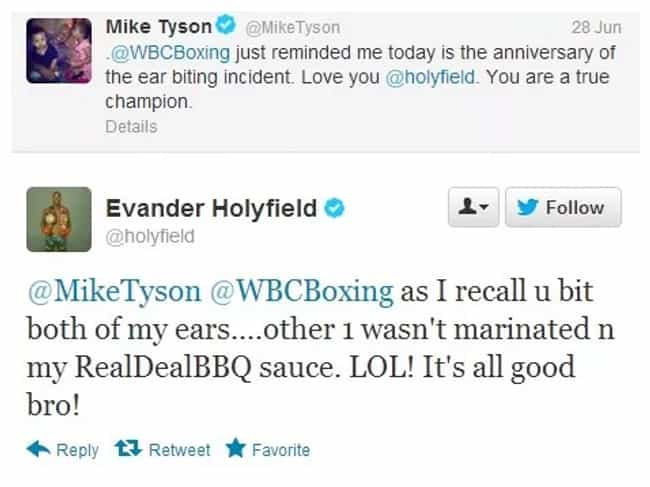 Mike Tyson and Evandor H... is listed (or ranked) 4 on the list The Best Screenshots of Celebs Texting Each Other