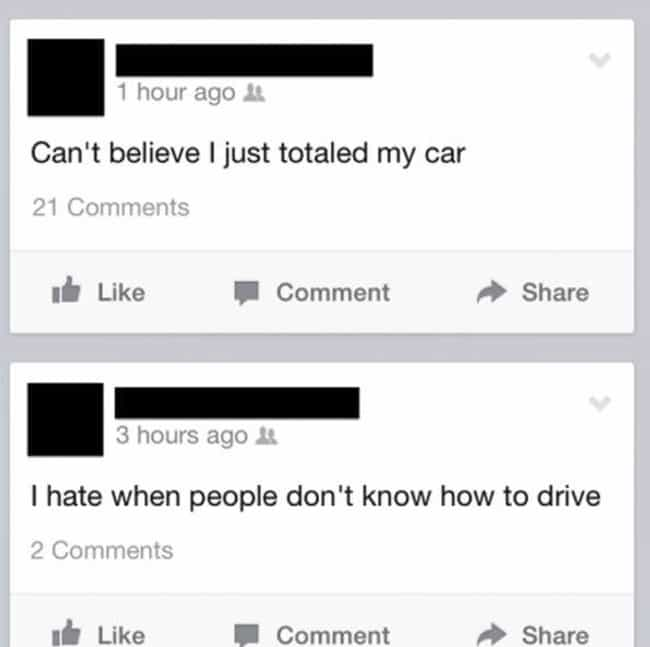Don't Facebook and Drive is listed (or ranked) 4 on the list 25 Photos That Prove Karma's a B*tch