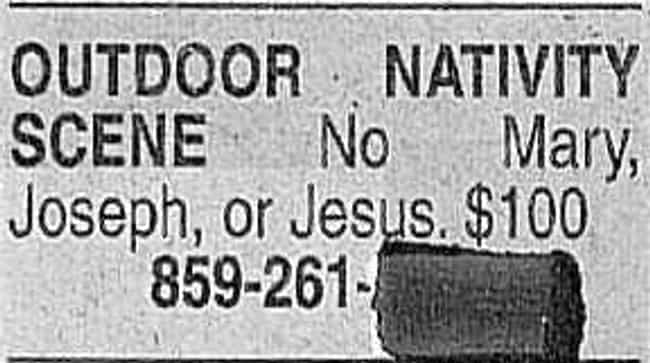 Jesus, Mary, and Joseph! is listed (or ranked) 3 on the list 25 Hilarious Classified Ads You'd Respond To