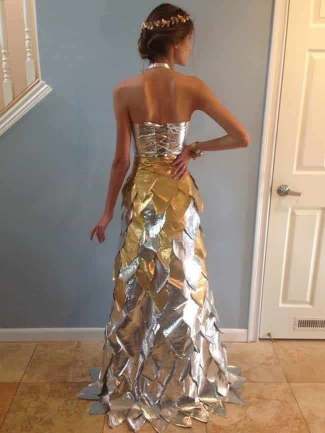 A Silver and Gold Approa... is listed (or ranked) 4 on the list Creative Homemade Prom Dresses