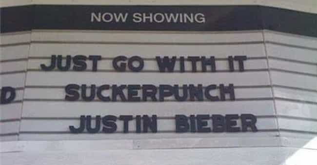 I Want to Belieb is listed (or ranked) 2 on the list 22 Hilarious Movie Marquee Fails