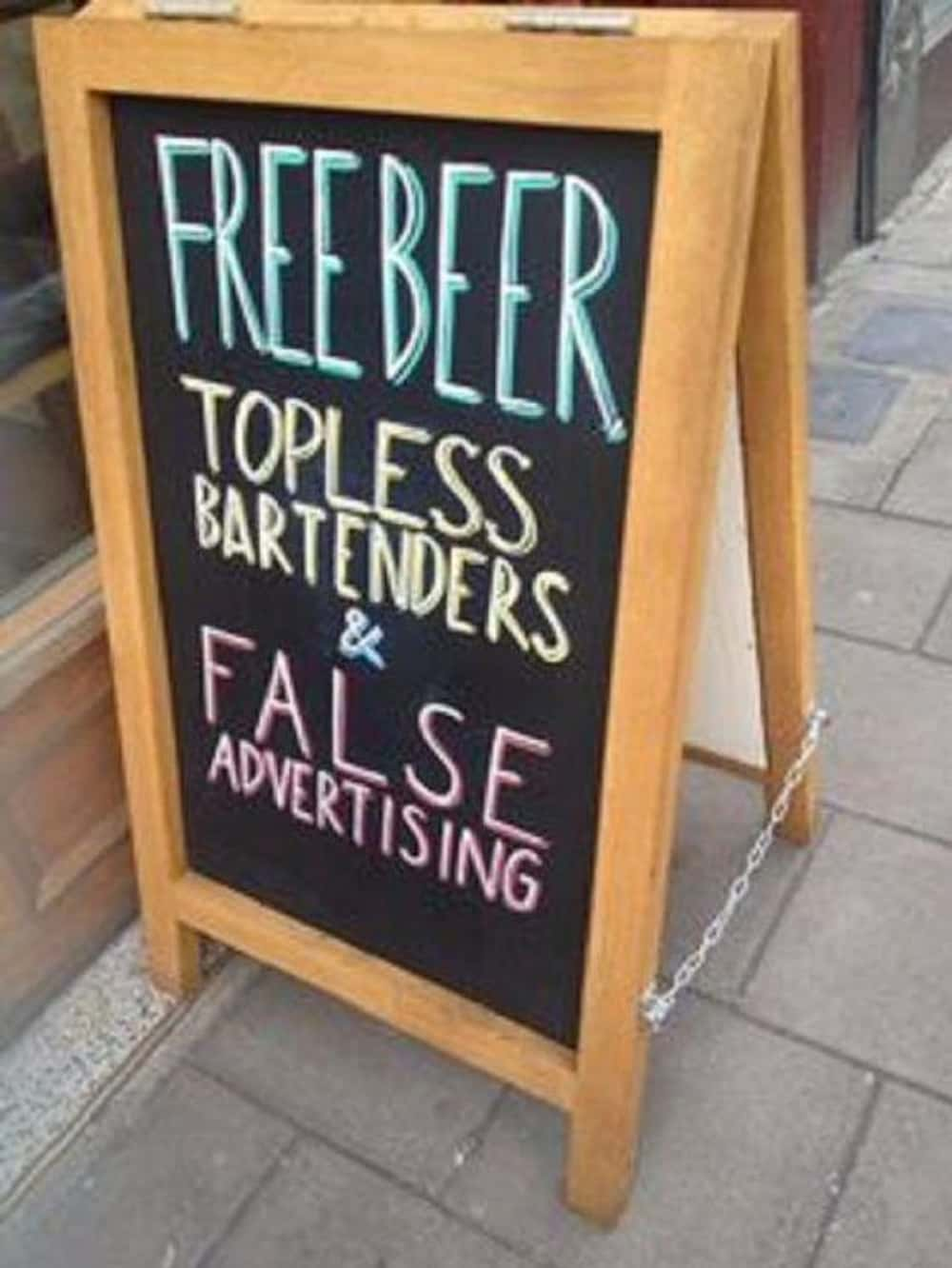 Honest Advertising is listed (or ranked) 1 on the list 25 Funny Bar Signs You'd Cheers To