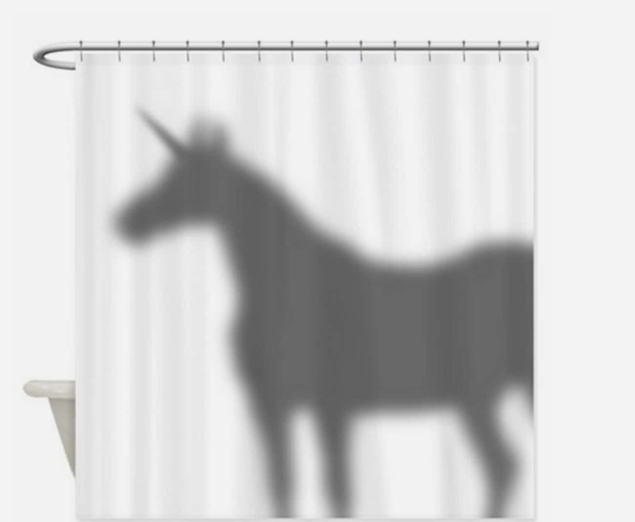 What? Unicorns Have to Shower  is listed (or ranked) 3 on the list 25 Very Clever Shower Curtains That Will Make You Smile