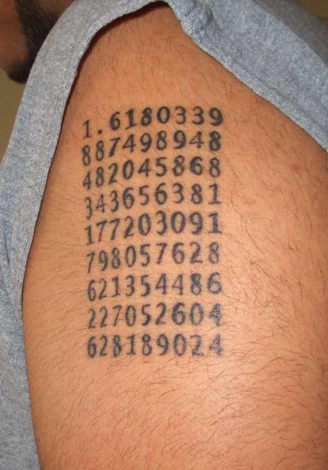 This Guy's Tat Shows the G... is listed (or ranked) 4 on the list Mystifying Math Tattoos You'll Never Get the Answer To