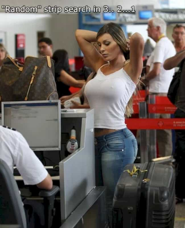 """""""Random"""" Strip Search is listed (or ranked) 2 on the list Cringeworthy TSA Photos That'll Make You Never Want to Fly"""