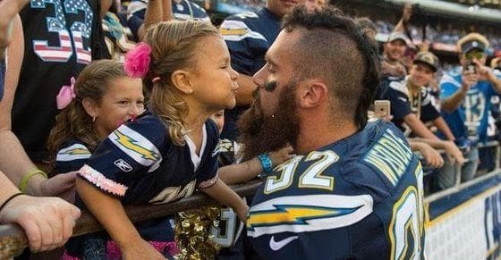 Eric Weddle Sneaks a Kiss from His Daughter on Random Adorable Pictures of NFL Players Caught Being Dads