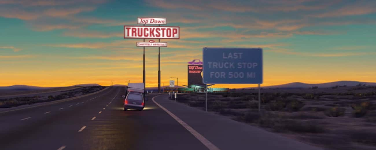 Cars - The Top Down Truckstop is listed (or ranked) 2 on the list Off-Color Jokes For Grown-Ups That Kids Never Noticed In Pixar Movies