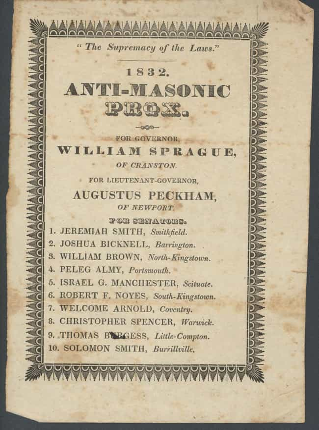 1836 Anti-Masonic Convention -... is listed (or ranked) 1 on the list Democratic And Republican Conventions That Were Total Chaos